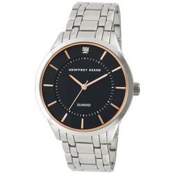 Geoffrey Beene Mens Silver Tone & Black Watch