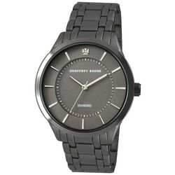 Geoffrey Beene Mens Gunmetal Grey Band Watch
