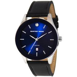Geoffrey Beene Mens Blue Face Sleek Strap Watch