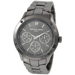 Geoffrey Beene Mens Gunmetal Grey Tri-dial Watch