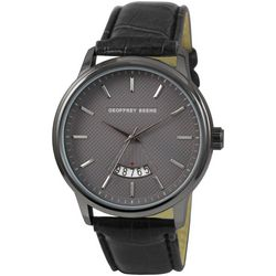 Geoffrey Beene Mens Dash Dial Black Faux Leather Watch