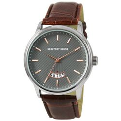 Geoffrey Beene Mens Dash Dial Brown Faux Leather Watch