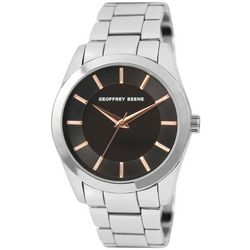 Geoffrey Beene Mens Silver Tone Band Dash Dial Watch