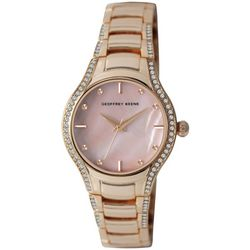 Geoffrey Beene Womens Rose Gold Tone Bezel Wave Watch