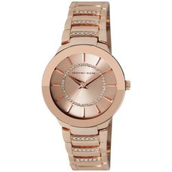 Geoffrey Beene Womens Rose Gold Tone Round Bezel Band Watch