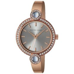 Geoffrey Beene Womens Rose Gold Tone Two Circle