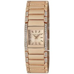 Geoffrey Beene Womens Square Dial Rose Gold Tone Watch