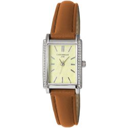 Caribbean Joe Womens Silver Tone Rectangle Dial Roman