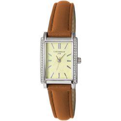 Caribbean Joe Womens Silver Tone Rectangle Dial Roman Watch