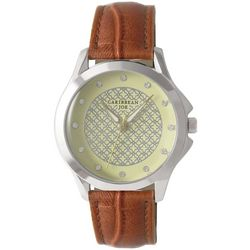 Caribbean Joe Womens Round Patterned Face Watch