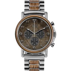 Joe By Joseph Abboud Mens Faux Wood & Silver Tone Watch