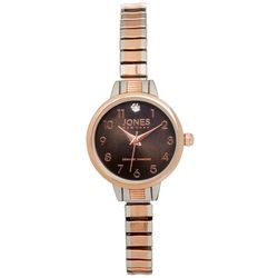 Jones New York Rose & Silver Round Stretch Watch