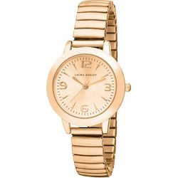 Laura Ashley Womens Rose Gold Tone Stretch Band Watch
