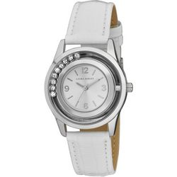 Laura Ashley Womens Floating Crystal Faux Leather Watch