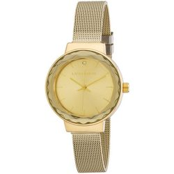 Laura Ashley Womens Gold Tone Faceted Bezel Sunray Watch