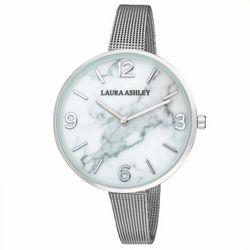 Laura Ashley Womens Silver Tone Sleek Band Marbleized Watch