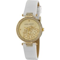 Laura Ashley Womens Gold Tone Floral Stone Dial Watch