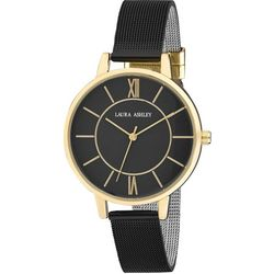 Laura Ashley Womens Black Mesh Band Roman Numeral Watch