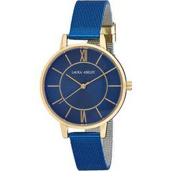 Laura Ashley Womens Blue Mesh Band Roman Numeral Watch