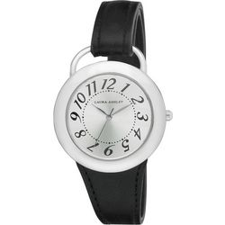 Laura Ashley Womens Black Band Sunray Dial Watch