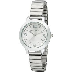 Laura Ashley Silver Tone Round Dial Stretch Watch