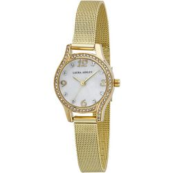 Laura Ashley Rhinestone Dial Mesh Strap Watch