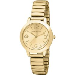 Laura Ashley Gold Tone Round Dial Stretch Watch