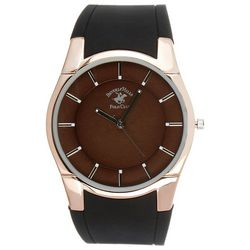 Beverly Hills Polo Club Mens Round Face Rubber Strap Watch