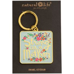 Natural Life Strong As A Mother Square Enamel Keychain