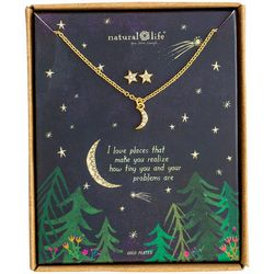 Natural Life Moon & Stars Earring & Necklace Set