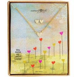 Natural Life Heart Earring & Necklace Set