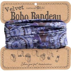 Natural Life Womens Blue Medallion Half Velvet Boho Bandeau