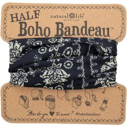 Natural Life Womens Black Cream Mandala Half Boho Bandeau