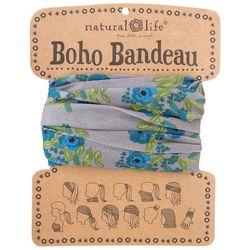 Womens Taupe Blue Blooms Boho Bandeau