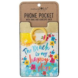 Natural Life The Beach Is My Happy Place Phone Pocket & Ring