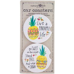 Natural Life 2-pk. Pineapple Life Car Coaster Set