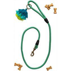 Natural Life Blue Multi Tassel Dog Leash