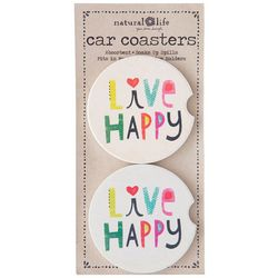 Natural Life 2-pk. Live Happy Car Coaster Set