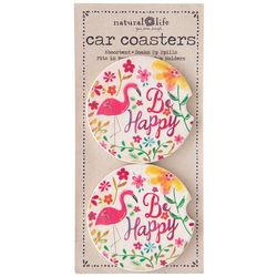 Natural Life 2-pk. Be Happy Flamingo Car Coaster Set