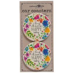 Natural Life 2-pk. Be Happy Today Car Coaster Set