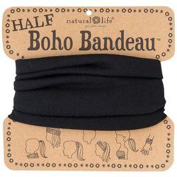 Natural Life Womens Solid Black Half Boho Bandeau