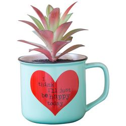 Natural Life Be Happy Today Faux Succulent & Mug