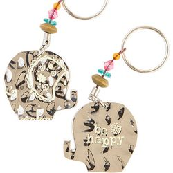Natural Life Be Happy Elephant Keychain