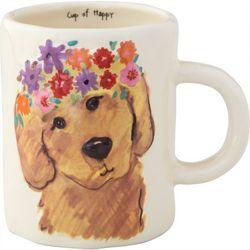 Natural Life Cup Of Happy Dog Embossed Mug