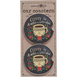 Natural Life Coffee Is Always A Good Idea Car Coaster Set