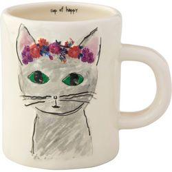 Natural Life Cup Of Happy Cat Embossed Mug