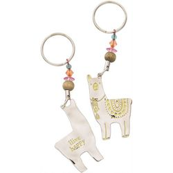 Natural Life Llive Happy Llama Keychain