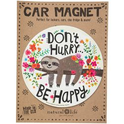 Natural Life Don't Hurry Be Happy Sloth Car Magnet