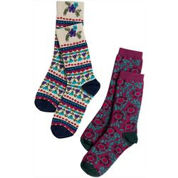 Natural Life Womens 2-pk. Western Floral Crew Socks
