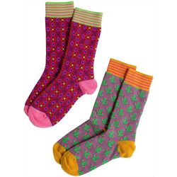 Natural Life Womens 2-pk. Cactus & Geo Print Socks